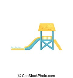 Water slide with staircase and pool. Fun attraction for kids. Flat vecrtor element for promo poster of aqua park