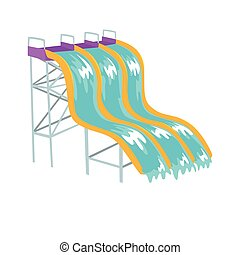 Water slides, aquapark equipment cartoon vector Illustration