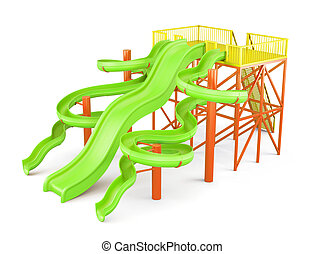Water slides isolated on a white background. Side view. 3d rende