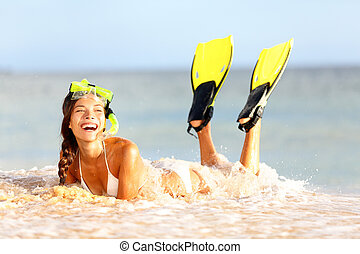 Water snorkeling fun beach woman laughing