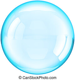 Water soap bubble ball colored cyan - Soap Bubble ball...
