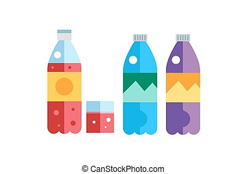 Water, soda and juice or tea bottles vector Illustration....