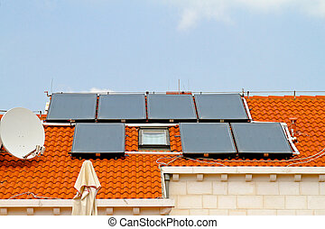 Water solar cells - Rooftop with solar cells for water...