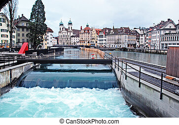 Water spike in the center of Lucerne, Switzerland.  -