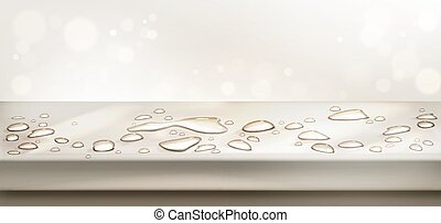 Water spills on table top perspective view. Vector realistic background with liquid puddles, water drops on wet kitchen desk surface. Empty countertop with aqua splashes on abstract background