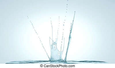 Water splash and crown in slow motion. alpha, 3d animation