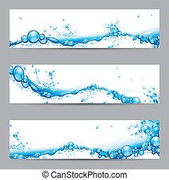 Water Splash Banner - illustration of set of banner with...