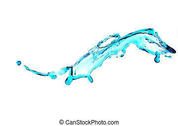 Water Splash - blue water splash isolated on white ...