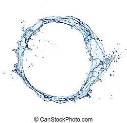 Water splash circle isolated on white background