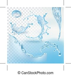 Water splash element - Water splash, vector element with...