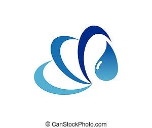 Water splash icon sign logo