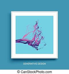 Water Splash Imitation. Cover design template. Generative art. Vector Illustration.