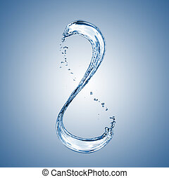 water splash in shape of number 8 on blue background