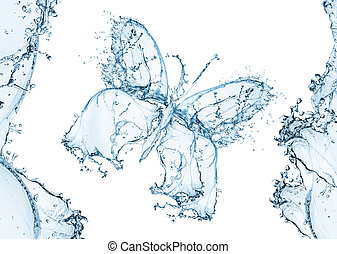 Water splash in the form of a butterfly