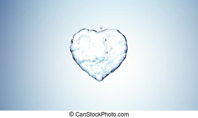 Water splash in the form of a heart. Blue background. 3d...