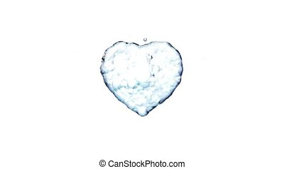 Water splash in the form of a heart. Isolated on white...