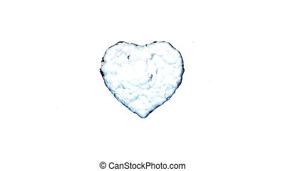 Water splash in the form of a heart. Isolated on white background.