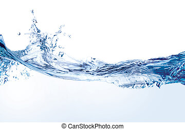 Water splash isolated on white - Close up of splash of water...