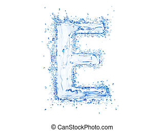 Water splash letter E - Water splash letter.Upper case.With...