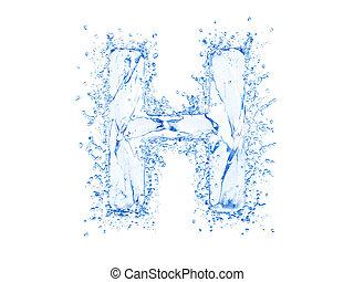 Water splash letter H - Water splash letter.Upper case.With...