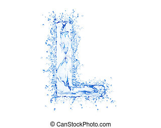 Water splash letter L - Water splash letter.Upper case.With...