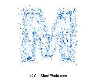 Water splash letter M - Water splash letter.Upper case.With...