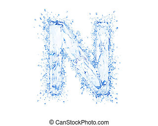 Water splash letter N - Water splash letter.Upper case.With...