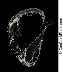 Water splash on black background