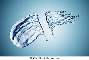 Water splash on blue background