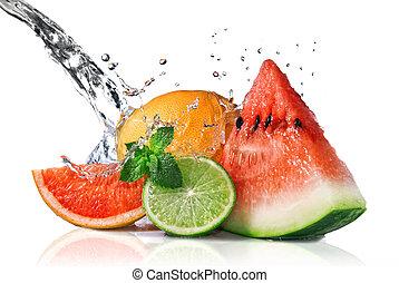 Water splash on fresh fruits isolated on white