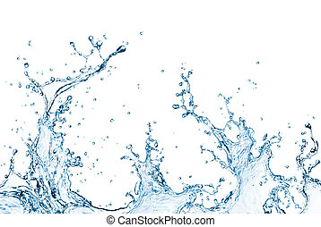water splash - blue water splash isolated on white...