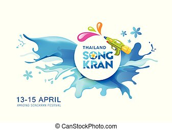 Water splash Vector Songkran Thailand banner background