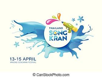 Water splash Vector Songkran Thailand banner background