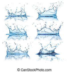 Water splashes collection, isolated on white background