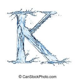 "Water splashes letter ""K"" isolated on black background"