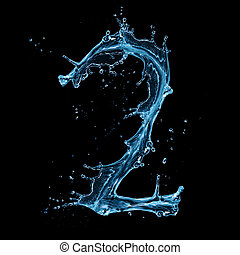 "Water splashes number ""2"" isolated on black background"