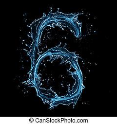 "Water splashes number ""6"" isolated on black background"