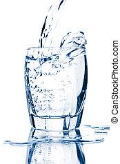 water splashing into glass isolated