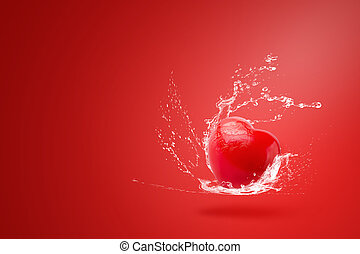 Water splashing on Red ball foam with shape heart on red background