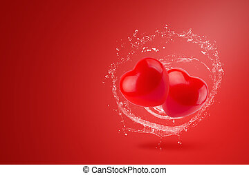 Water splashing on Red Hearts over red background. Valentines Day concept.