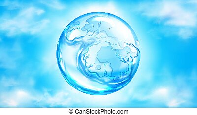 Water splashing sphere on blue sky background