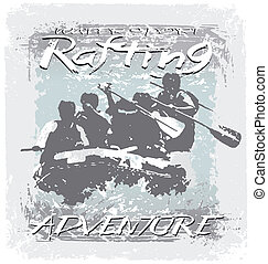water sport adventure - rafting sport vector for shirt...