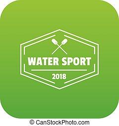 water sport, groene, vector, pictogram
