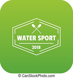 Water sport icon green vector