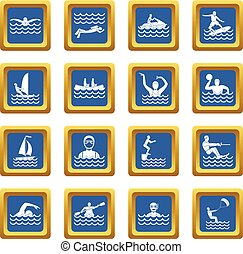 water sport, iconen, set, blauwe