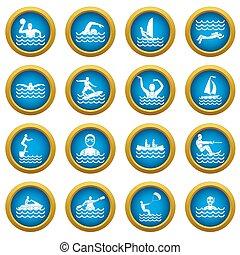 Water sport icons blue circle set