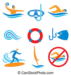 Water sport icons - Colorful pictograms with water sport ...