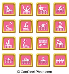 Water sport icons pink