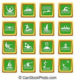 Water sport icons set green