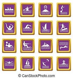 Water sport icons set purple
